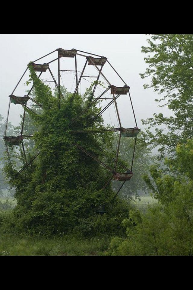 An abandoned ferris wheel at The Lake Shawnee amusement ...