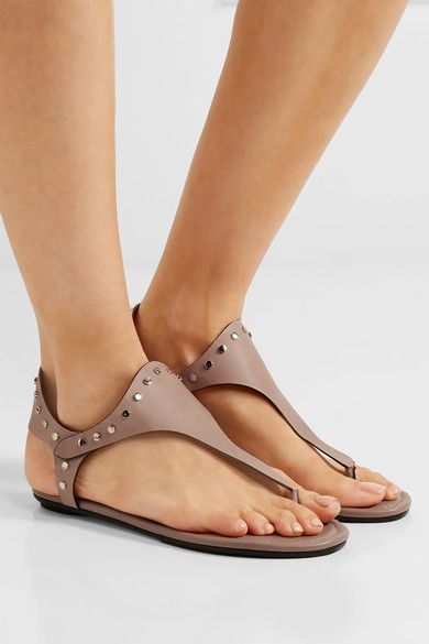 Jimmy Choo - Dara Studded Leather Sandals - Neutral - IT39.5