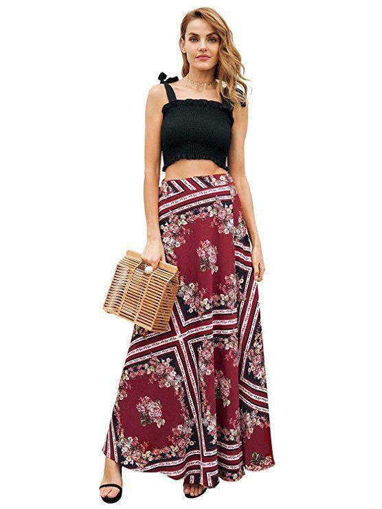 e1a63bf438e Simplee Apparel Women s Boho High Waist Summer Beach Wrap Maxi Skirt. Get a designer  look with bohemian skirts dresses and trendy summer tops women. Latest ...
