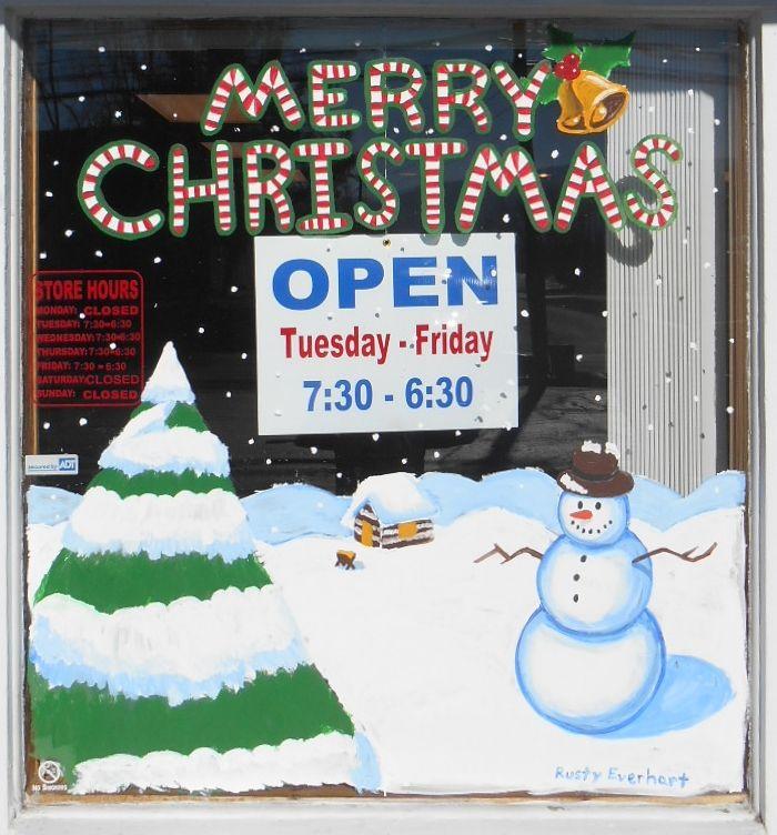 Christmas Window Mural for Local Barber Shop by djrustye.deviantart.com on @DeviantArt