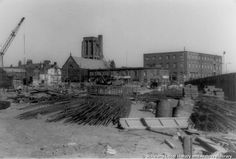 MSE/3/6 Black and white photograph showing demolition work around Market Street and St.Helens Parish Church, St.Helens 1973 MSE - The Frank Sheen Collection 3 - Photographs showing St.Helens Town Centre