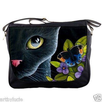 Cat 557 Black Cat Butterfly Messenger Handbag Bag Purse from Art Painting | eBay