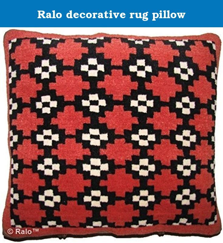 "Ralo decorative rug pillow. CT-21 Gau orange, 20"" x 20"" Unique Ralo rug pillow used for meditation or decoration, 100% handmade tibetan wool rug with cotton backing, brass fasteners, removable down feather pillow inserts."