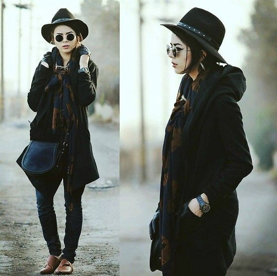 Essential Black Hat, Studded Headband, Lennons, Gold Cross Necklace, Skeleton Scarf, Forever 21 Black Hooded Coat, Forever 21 Gold & Diamond Watch, Black Half Gloves, Forever 21 Saddle Bag, High Waisted Bullhead Jeans, Half Gloves