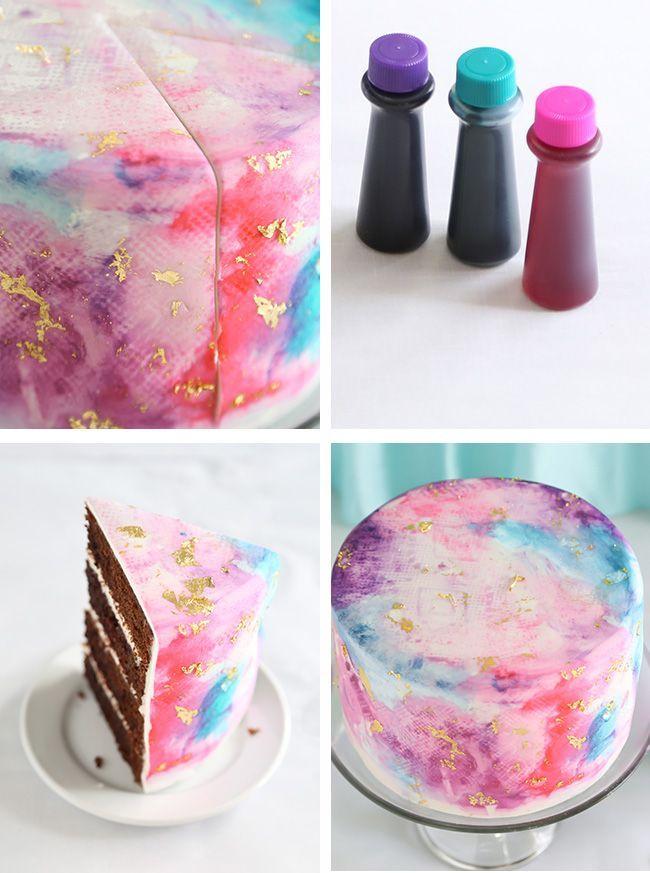 Watercolor Graffiti Chocolate Cake | Sprinkle Bakes
