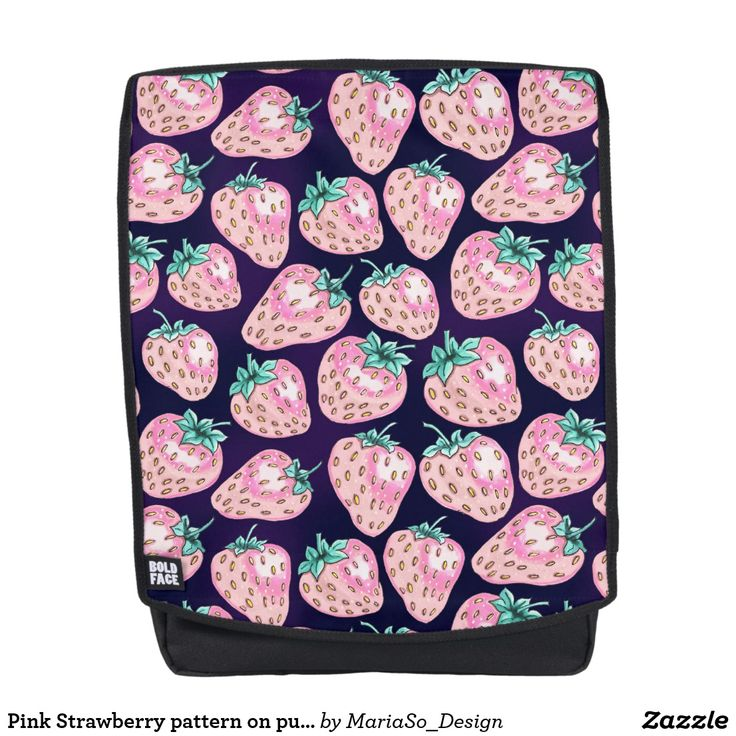 Pink Strawberry pattern on purple background Backpack