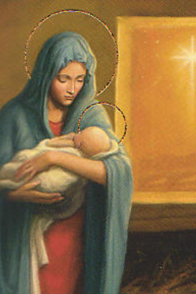 Nativity -- Whenever I see pictures of the Blessed Virgin holding the Baby Jesus or pregnant, I find something I can relate with her.  I wish I were a better mom.