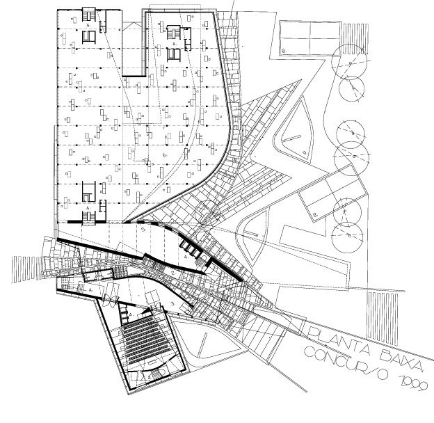 1125-5 This site plan involves a lot of functional interaction of each parts of building. Each single spaces are interacting with each other.