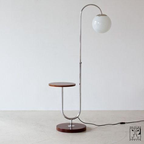 Art Déco Stahlrohr Bogenleuchte mit integriertem Tisch - Bild 3