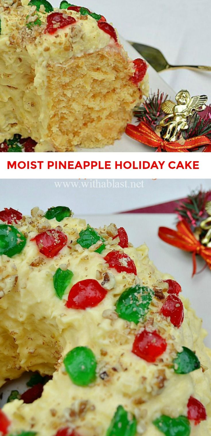 This is one of the Christmas Cakes which you just have to try ! Moist, soft, double Pineapple and an amazing Pudding Cream Pineapple Frosting
