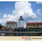 Lighthouse in Kaliningrad Fishing Village with beautiful views of Kant Island, House of Soviets and the Pregel river.