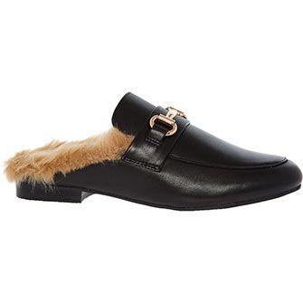 Steve Madden Black Leather Fleece Lined Loafers