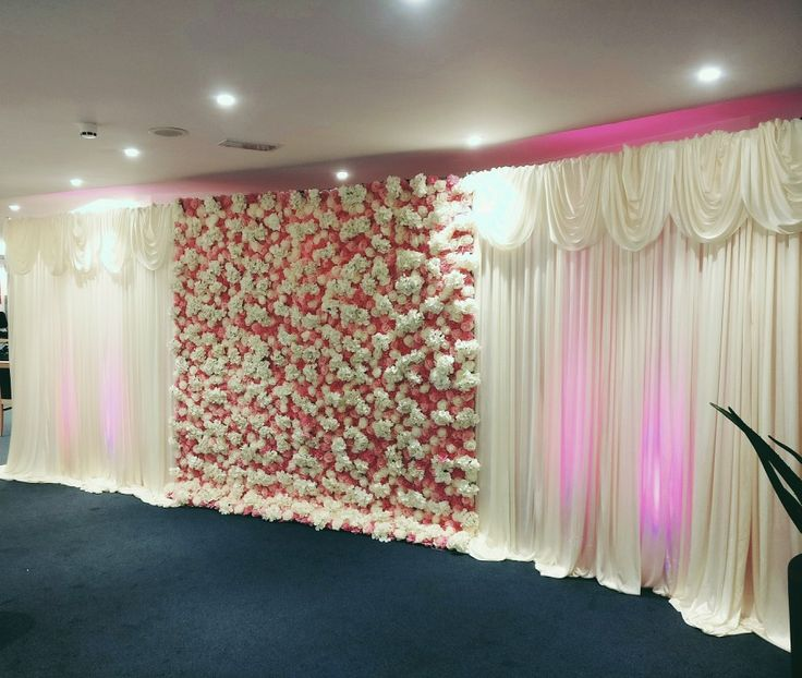 Flower Wall With Draping And Uplighters