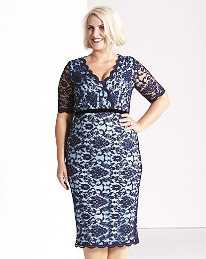 Former British pop singer Claire Richards has just launched a new line of fashion for plus size women.  Sizes go up to an UK 32 (US 36).  The lace dress shown is just one piece of her collection.