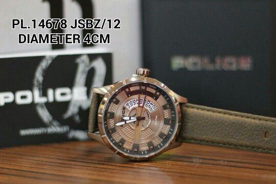 POLICE watch  Article : PL 14678 JSB2 / 12 Price : IDR 1.650.000 Diameter : 4 cm  Material : Leather brown - ring full brown Garansi mesin 1 tahun international