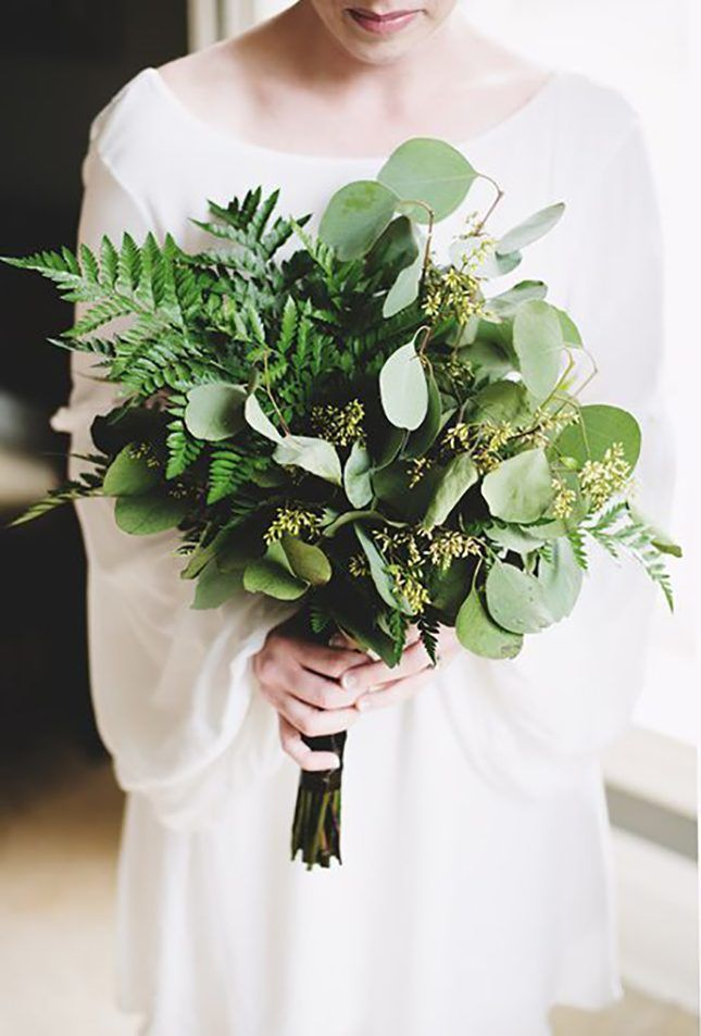 Mix some eucalyptus and herbs in with your evergreens for a great smelling and modern looking bouquet. Table runner idea