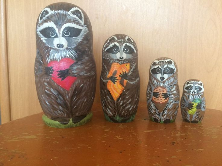 4 PC Nesting Doll Cute Raccoon Matreshka Matryoshka Hand Painted | eBay