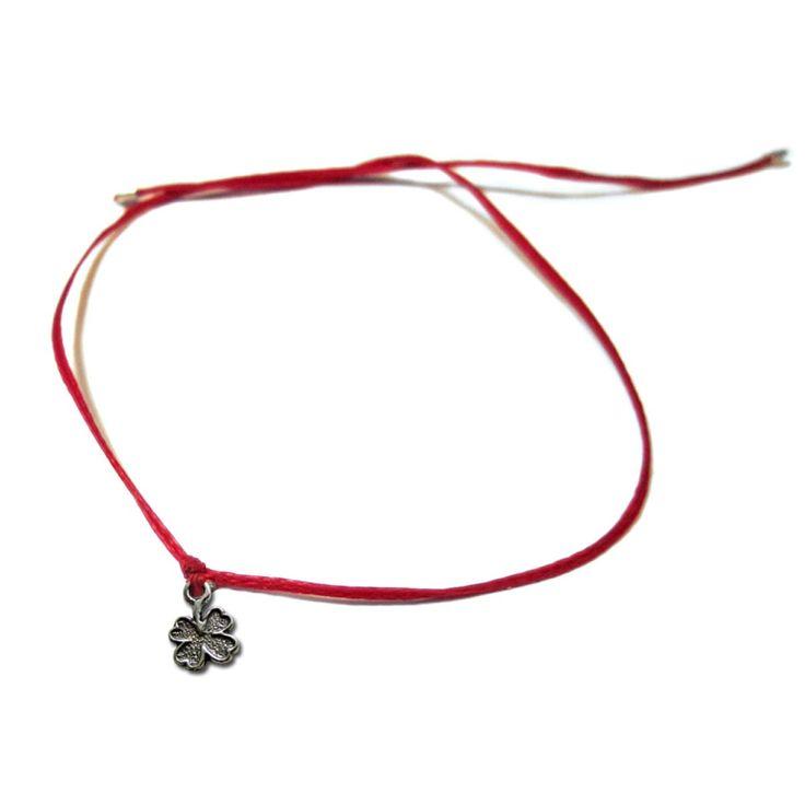 RAVE von PerePaix Handmade Schmuck - Rotes Kabbala-Armband mit Sterlingsilber Klee Charme: 30€