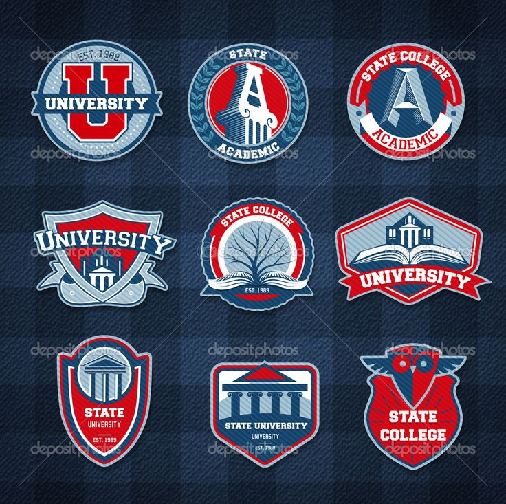 Set of university and college school badges #design #vector #eps Download: http://depositphotos.com/39774951/stock-illustration-set-of-university-and-college.html?ref=5747528