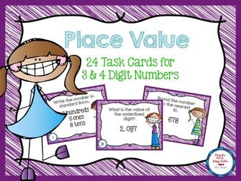 ray ban   FREEBIE   Place Value Task Cards for 3  amp  4 Digit Numbers  Grade Levels  2nd  3rd  4th  Homeschool
