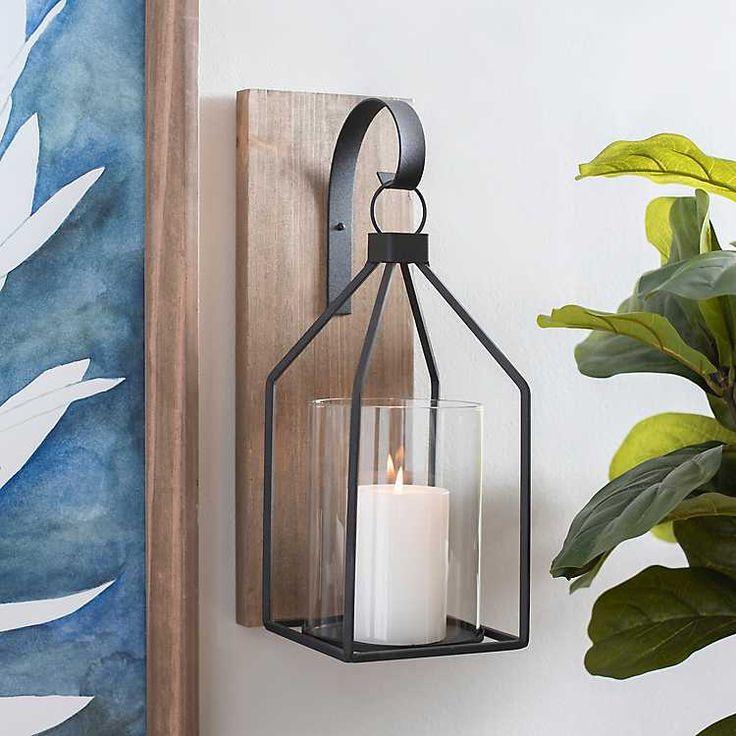 Black Wooden Open Lantern Sconce in 2020 | Sconces dining ... on Lanterns At Kirklands id=85938