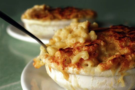 The mac & cheese at Poole's Diner in Raleigh, NC is possibly some of the best that I've ever eaten.  It may be a very dangerous thing to have this recipe at my disposal! http://culturecheesemag.com/recipes/pooles-macaroni-au-gratin