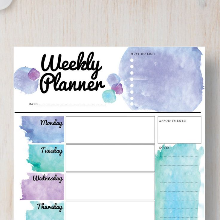 Instant Download Printable Planner Weekly Portrait Page - Blue Watercolor - Instant Planner A4 | A5 & Letter | Half Letter. von StickWithSam auf Etsy https://www.etsy.com/de/listing/256393763/instant-download-printable-planner