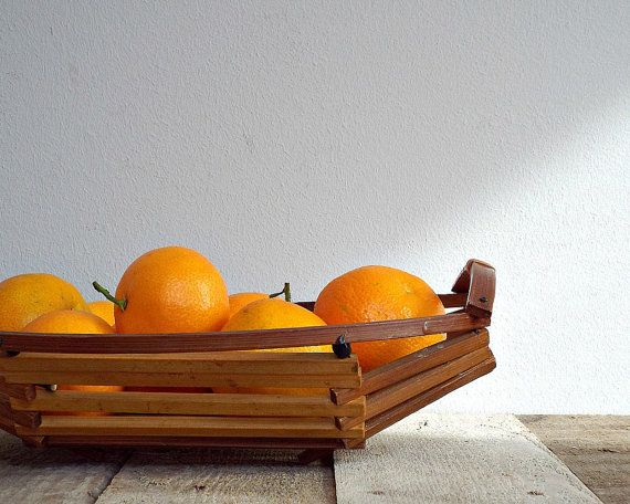 MID CENTURY 1960 basket vintage wooden basket by viadeinavigli, $36.00