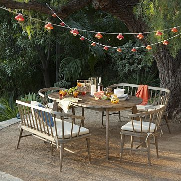 Dexter Outdoor Expandable Dining Collection #westelm - Love the outdoor lights!