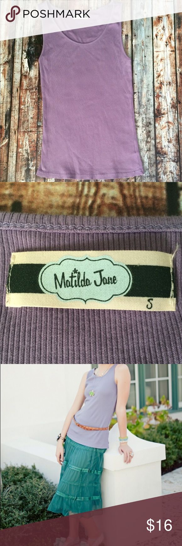 Matilda Jane House of Cloud Lavender Dusk Tank Top Matilda Jane lavender ribbed Dusk Tank from the House of Clouds Collection. Matches the Josie Skirt. Tag size small. Runs a bit large imo. Good condition. Matilda Jane Tops Tank Tops