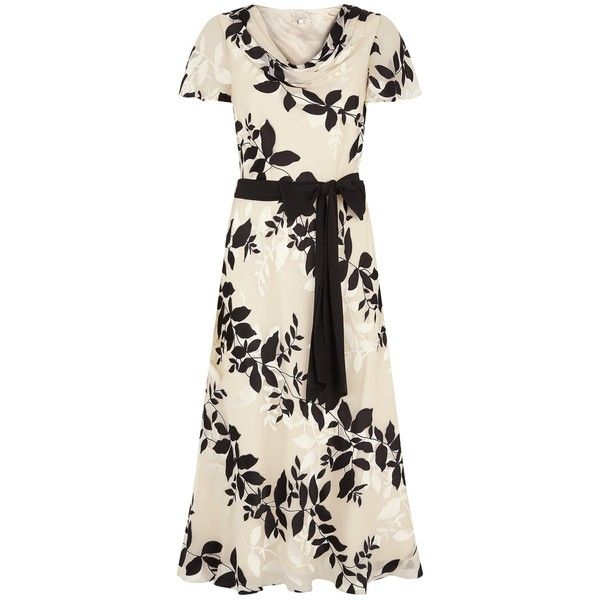 Jacques Vert Shadow Floral Devore Dress, Cream ($140) ❤ liked on Polyvore featuring dresses, short sleeve maxi dress, floral fit and flare dress, plus size mini dresses, women plus size dresses and floral midi dress