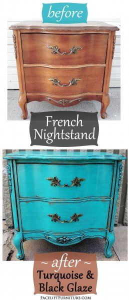 Before & After - French Nightstand in distressed Turquoise with Black Glaze. Original vintage pulls. From Facelift Furniture. on Facelift Furniture  http://www.faceliftfurniture.com/bedroom-furniture-before-after/
