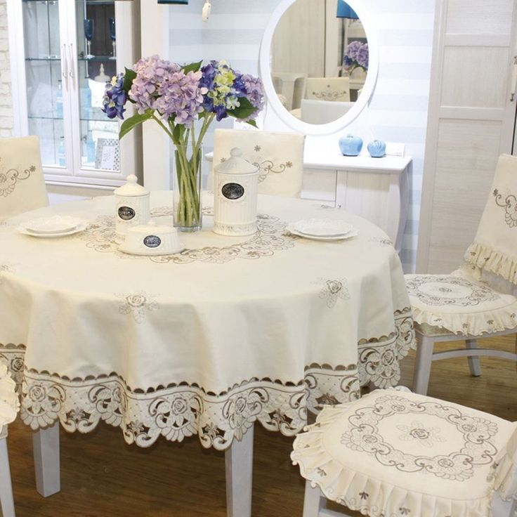 """Brown flower embroidered lace dark white cream tablecloth round, diameter 84"""" #JHtablecloths"""