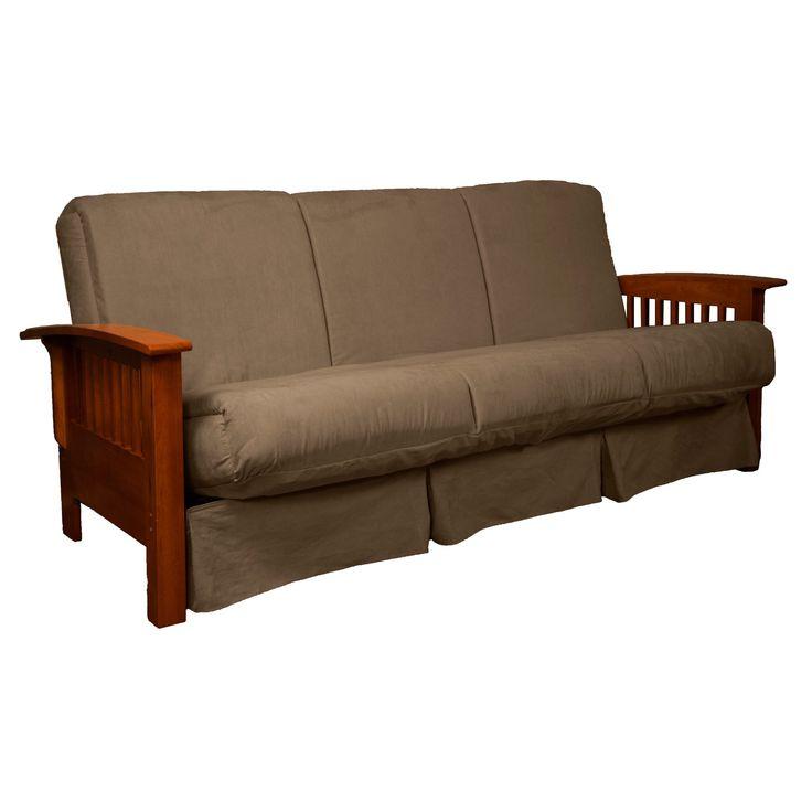 Stickley Perfect Futon Sofa Sleeper - Walnut Wood Finish - Mocha Brown Upholstery - Queen-Size - Sit N Sleep, Pecan