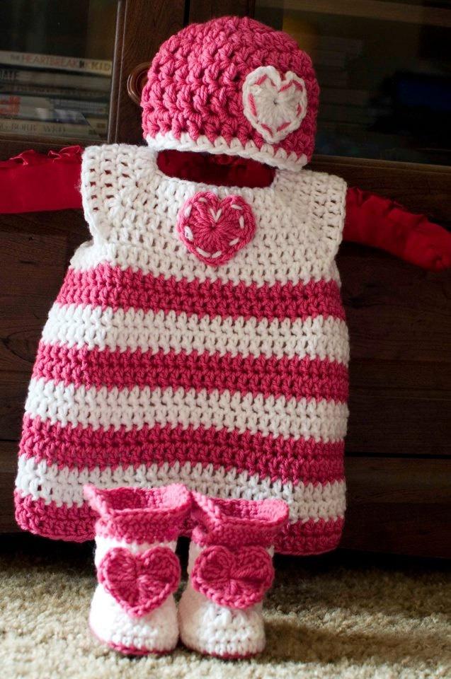 Valentine's Crochet Baby Set, Dress, Hat, and Boots. $38.00, via Etsy.