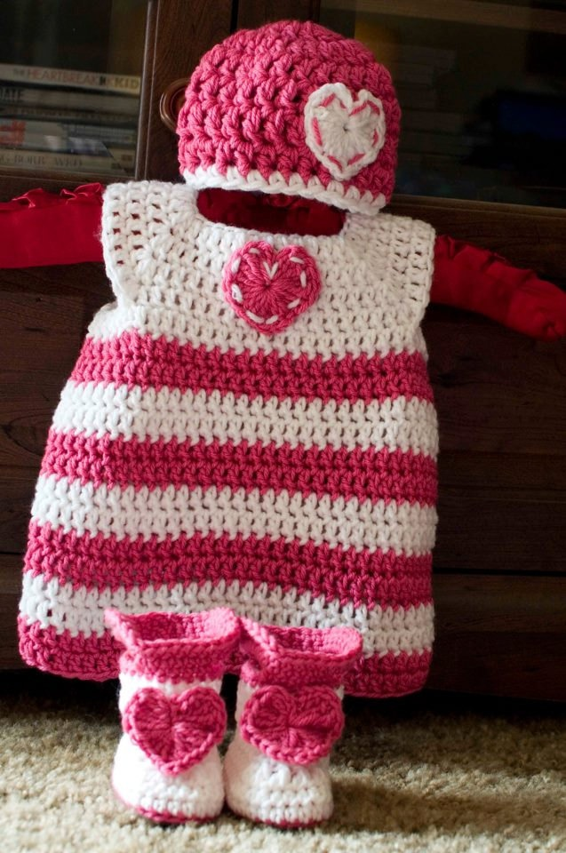 Valentine's Crochet Baby Set, Dress, Hat, and Boots. $38.00, via Etsy.