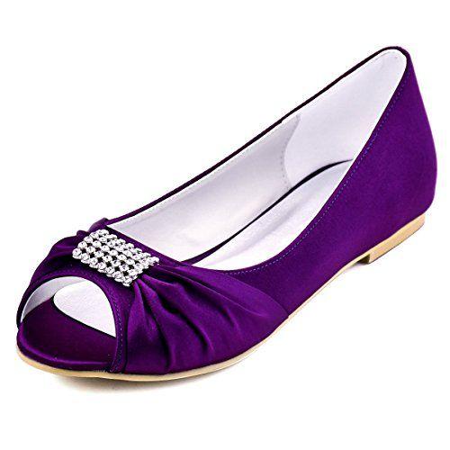 ElegantPark EP2053 Women Peep Toe Rhinestones Comfort Flats Pleated Satin Wedding Bridal Court Shoes Purple UK 8