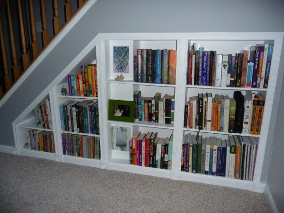 how to make understairs built in bookshelves