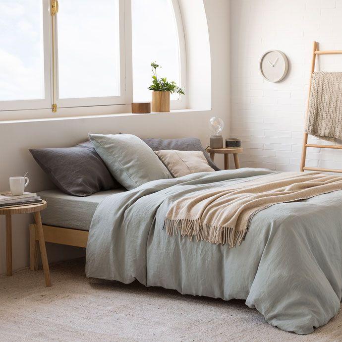 Белье постельное из вареного льна синевато-зеленого цвета - Постельное белье - спальная комната | Zara Home Россия / Russia