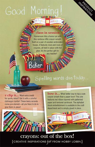 crayon wreath - cute teacher gift idea