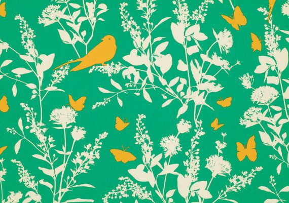 Joel Dewberry  BUNGALOW Swallow Study in Emerald  by MoonaFabrics, $9.95