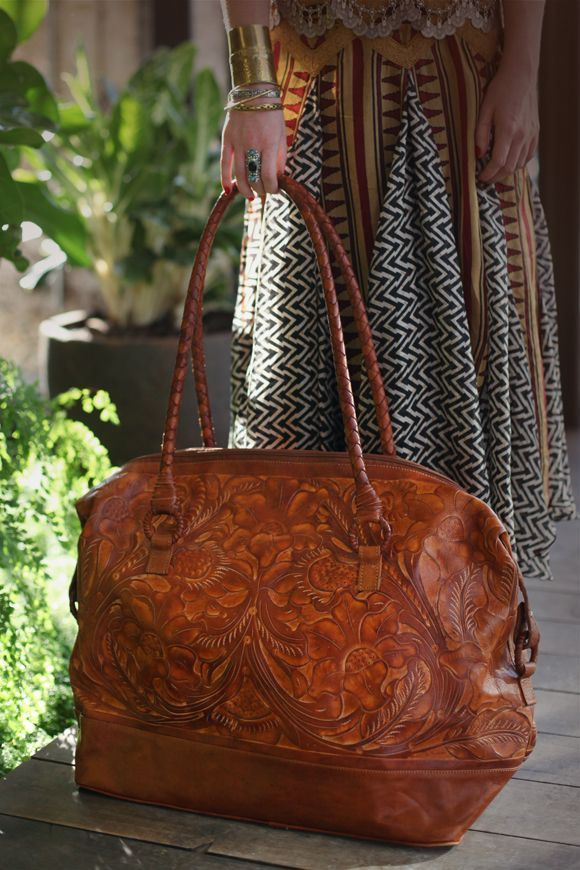 ☯☮ॐ American Hippie Bohemian Style ~ Tooled Leather Weekend Boho Bag!