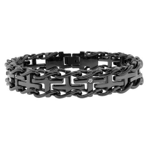 Men S Stainless Steel Railroad With 03 Cttw Diamonds In Black Ip