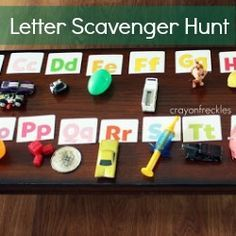 * Letter scavenger hunt: Scatter items for each letter around the room. Kids work together to find items, identify beginning sounds, and determine appropriate letter.
