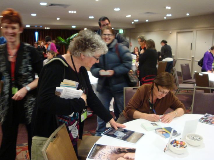 #RWNZ2014 book signing: Author Mary Brock Jones and reader