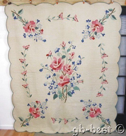 "Romantic 30s Cottage Roses Applique Vintage QUILT 92 x 78"" Pink Green Blue"