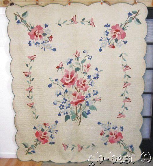 """Romantic 30s Cottage Roses Applique Vintage QUILT 92 x 78"""" Pink Green Blue"""