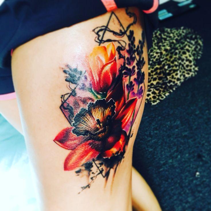 Wildflower tattoo, thigh tattoo, watercolor, tattoo, girl tattoo, tatted up lavender balance tattoo daffodils dragon smoke artist love design new girl leg tattoo ink nature flowers tattoos women