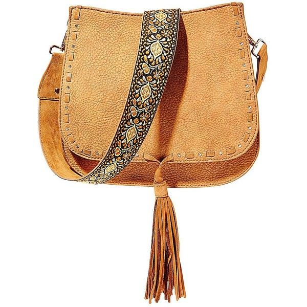 Steve Madden Textured Leather Bag ($88) ❤ liked on Polyvore featuring bags, handbags, shoulder bags, tan, steve madden handbags, bohemian shoulder bag, boho purses, white shoulder bag and boho chic handbags