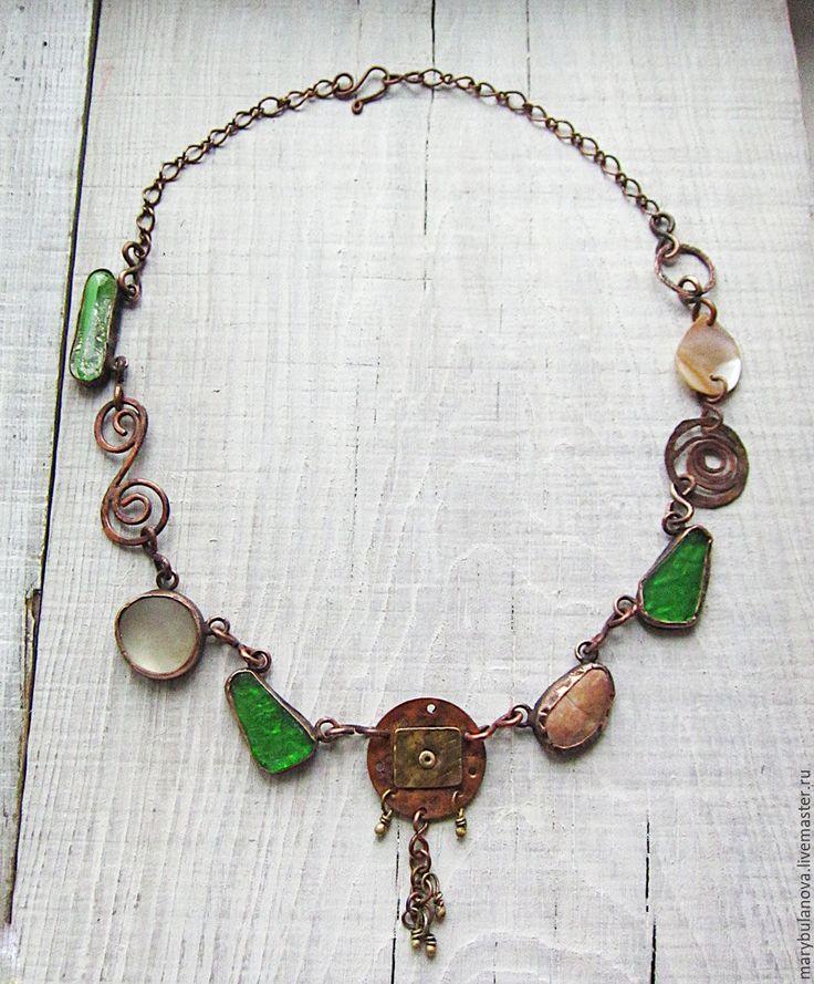 Купить Медное этническое ожерелье с морским стеклом. - зеленый, коричневый, ожерелье с подвеской, медь